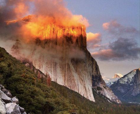 Sunset at Yosemite Bathes the Mountaintops in a Golden Glow - Katharine Trendacosta via io9
