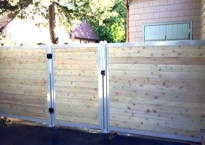 Galvanized Frames And Posts From Fencetrac Create A Modern Fence Modern Fence Design Privacy Fences Modern Fence