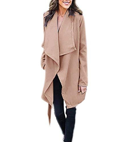 Yeokou Womens Mid Long Open Front Knitted Belted Cardigan Sweater Pocket