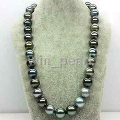 """Rare Huge Genuine White Silver Gray South Sea Shell Pearl Necklace 18/""""AAA+"""