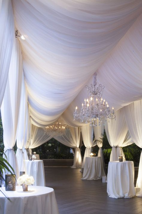 White Wedding Draping and Chandeliers at Four Seasons Beverly Hills - Event Design by Eddie Zaratsian, Photo by John and Joseph Photography Wedding Goals, Wedding Themes, Wedding Events, Wedding Decorations, Weddings, Wedding Ideas, Wedding Table, Hall Decorations, All White Wedding
