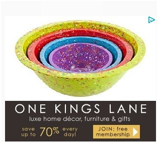 I love One Kings Lane for Home Decor.  It's FREE to signup and if you register today thru my link you get a $15 FREE coupon !