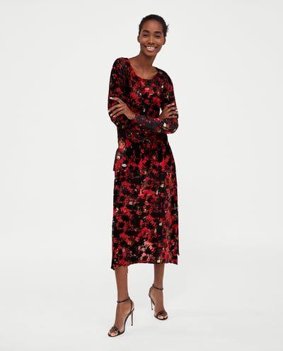 Vestido Largo Terciopelo Devorado última Semana Mujer Zara