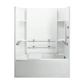 White 4 Piece Alcove Shower Kit