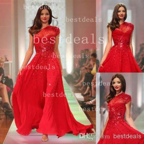 3569cafb0c 2014 Prom Dresses Sexy Backless Evening Gowns Sheer One Shoulder Capped  Sleeves Beaded Chiffon Sequins Red Party Dresses BO3086