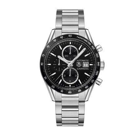 Tag Heuer Carrera Black Dial Stainless Steel Men's Watch CV201AL.BA0723, Size: 41 mm