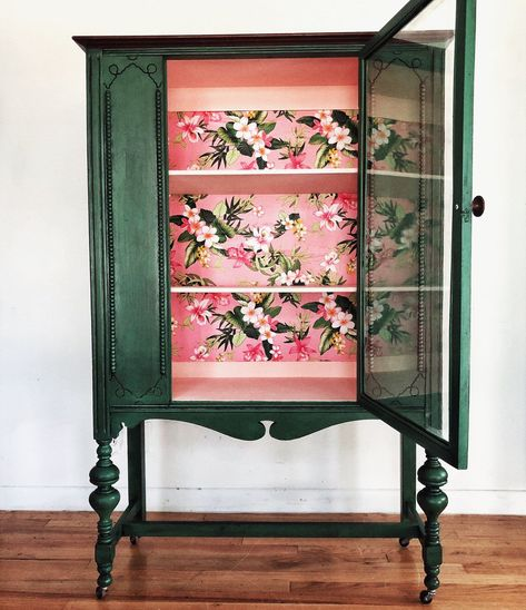 Green vintage china cabinet with Hawaiian floral fabric backing pink display cabinet storage - Furniture Redo Furniture, Painted Furniture, Upcycled Furniture, Cheap Home Decor, Home Decor, Furniture Inspiration, Furniture Makeover, Vintage Furniture, Vintage China Cabinets