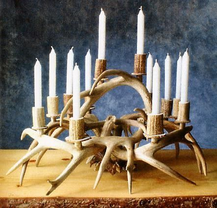 Antler Candle Centerpiece 599 99 Antler Candle Antlers Decor Deer Decor