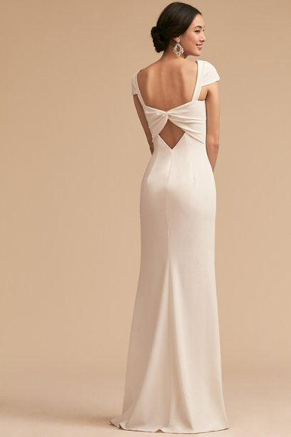 Sleek Ivory Dress With Criss Cross Back Cream White And Ivory Dresses Weddings Ivory Bridesmaid Dresses Bhldn Bridesmaid Dresses White Bridesmaid Dresses