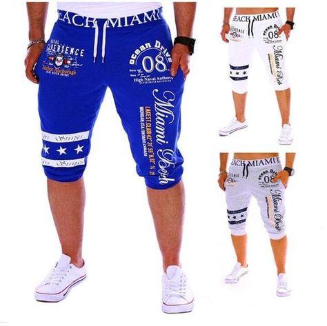 XL, White C Fashion Printing Shorts Drawstring Elastic Waist Casual Loose Jogger Trouser Mens Sport Pants