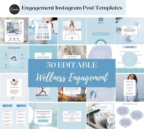 Wellness Blue Instagram Engagement post templates for Canva.Esthetician social media.Editable skincare marketing.Health coaching Instagram
