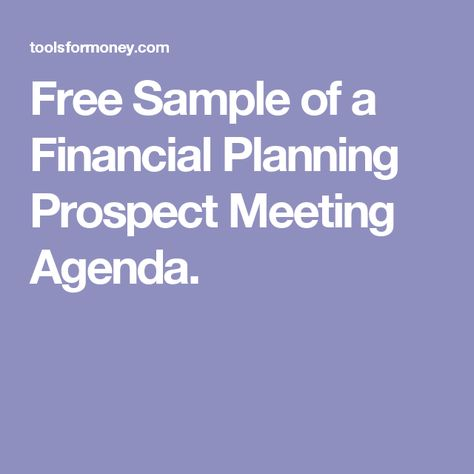 Free Sample Of A Financial Planning Prospect Meeting Agenda  Fp