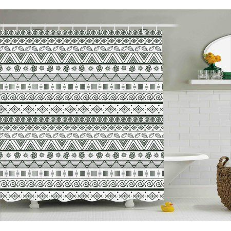 Tribal Shower Curtain Indian Aztec Pattern With Primitive