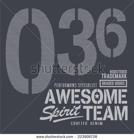 Vintage denim team, t-shirt typography, vectors