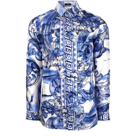 08835819 Versace Collection Tie Dye Baroque Hand Painted Silk Shirt in white/blue/ navy. On a white silk base, Versace Collection's classic silk shirt takes  on this ...