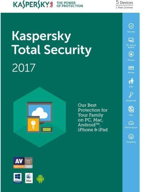 Kaspersky Total Security 2017 5 PC 1 Year Antivirus Price in