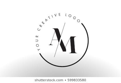 Am Letter Logo Design With Creative Intersected And Cutted Serif