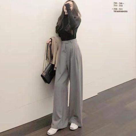 Ingvn 2021 Retro Solid Color Wild Straight Wide Leg Pants Female Spring New Korean Fashion High Waist Casual Long Pants - Light Grey / L