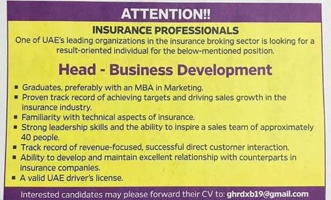 Insurance Professional Uae Job Openiongs In 2020 Insurance