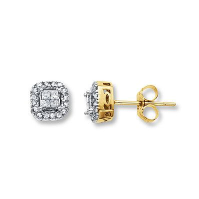 Previously Owned Diamond Earrings 1 4 Carat Tw 10k Yellow Gold Diamond Earrings Yellow Gold Lovely Earrings