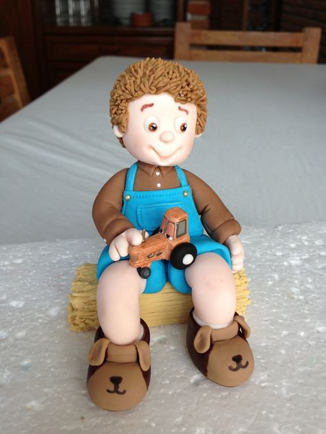 Pequeño granjero  porcelana fria pasta francesa masa flexible fimo fondant figurine modelado topper polymer clay farmer