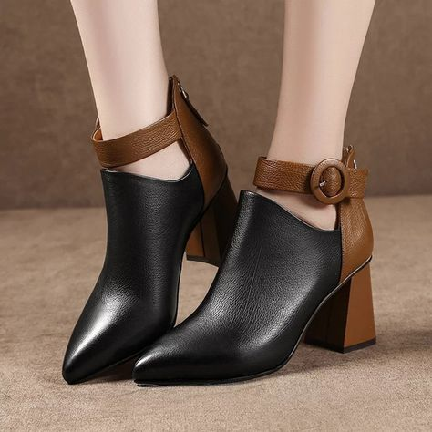 983870c4c US 29.98-Splicing Pointed Toe Buckle Ankle Boots