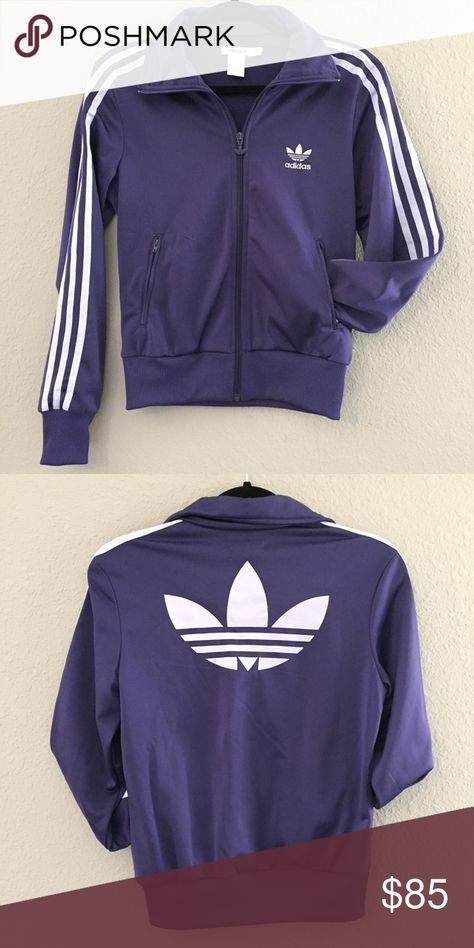 105d1b4ec5db adidas jacket adidas jacket with trefoil logo. Labeled Australian size 8    equivalent to US 2-4. Color is a gorgeous dark violet with light  purple blueish ...