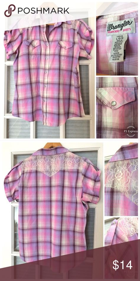 6dfbef54cce3f7 Wrangler Dress Shirt Sz. L 🌸 Pretty pink and purple dress shirt 🌸 by  Wrangler sz L. Has lace on the back and buttons on the front, shoulders and  pockets.