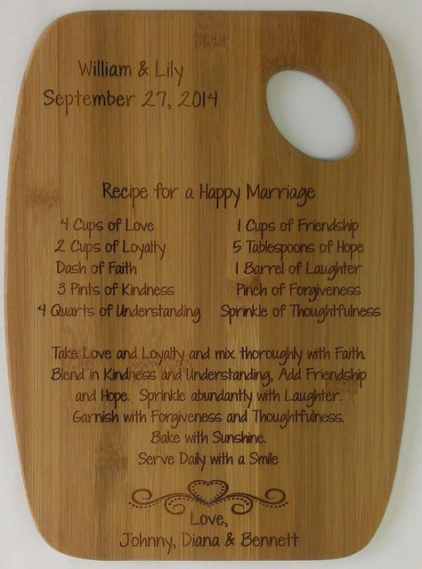 Recipe for a Happy Marriage Cutting Board by CreativeLaserArt4U, $19.95