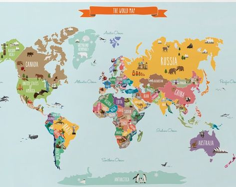 World Map Decal Countries Of The World Map Kids Country World