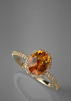 14K Yellow Gold 23K Diamond and Citrine oval ring