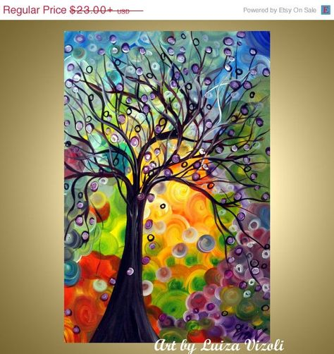 Print of original painting OLIVE TREE Whimsical Abstract Nursery Kids Room landscape print on paper