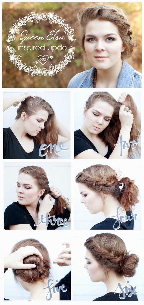 Queen Elsa Inspired Updo for short or medium length hair! Frozen hair tutorial, bohemian hair tutorial.