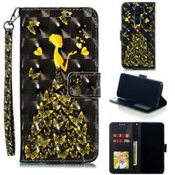 Golden Butterfly Girl 3d Painted Leather Phone Wallet Case For Mi Xiaomi Redmi Note 8 Pro Xiaomi Redmi Note 8 Pro Cases Guuds Leather Phone Case Wallet Wallet Phone Case Painting Leather