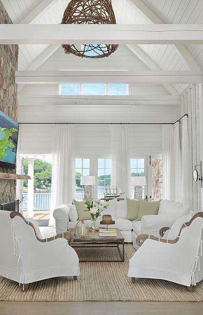 Great Room Coastal Decorating Living Room Beach House Interior Design Beach House Interior