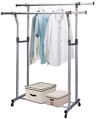 Amazon Com Mizgi Premium Clothes Drying Rack 2 Tier Clothes Rack Portable Clothes Racks For Drying Clo Clothes Drying Racks Rolling Clothes Rack Clothing Rack