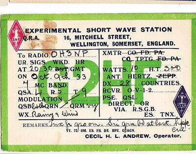 Ebay Sponsored Old Radio Qsl Card Uk England Wellington Somerset 1933 To Finland In 2020 Radio Old Radios Phonograph