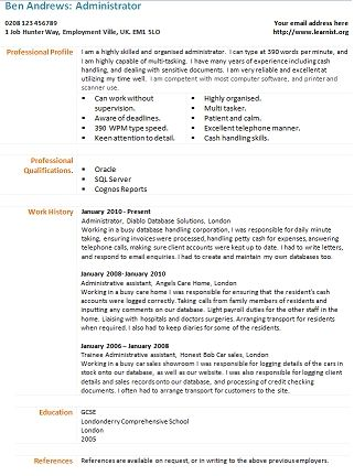 Administrator Cv Template Learnist In 2020 Cv Template Uk Cv Template Cv Design Template