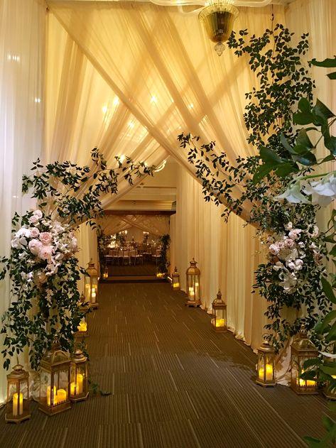 Fresh flowers and greenery! Wedding Walkway, Wedding Gate, Wedding Stage Backdrop, Wedding Backdrop Design, Wedding Draping, Desi Wedding Decor, Wedding Stage Design, Wedding Hall Decorations, Backdrop Decorations