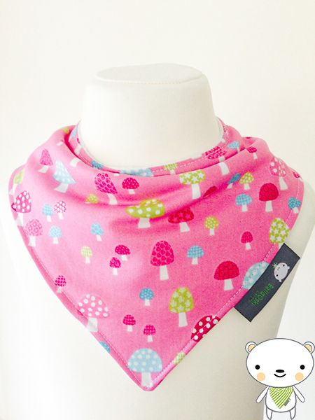 Bandanna Dribble Bib made with Pale Pink with Dots material
