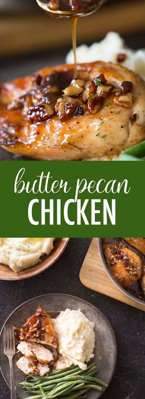 This super easy Butter Pecan Chicken comes together quickly in one skillet, and doesn't have a lot of ingredients. Definitely a winner! #butterpecanchicken #chickenbreasts #butterpecansauce #oneskilletmeal #simpleingredients #dinner Chicken Thights Recipes, Paleo Chicken Recipes, Shredded Chicken Recipes, Paleo Recipes Easy, Steak Recipes, Easy Chicken Dishes, Chicken Dishes For Dinner, Chicken Kitchen, Meatloaf Recipes