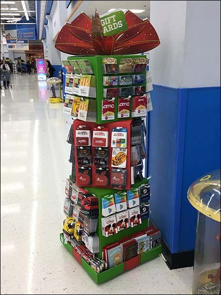 Mini Christmas Gift Card Tower At Walmart Fixtures Close Up Gift Card Displays Christmas Gift Card Store Gift Cards