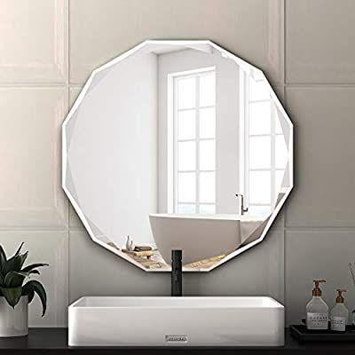 Amazon Com Kohros Frameless Round Beveled Wall Mirror 24 X 24 Bathroom Mirror For Vanity Living Romm B Frameless Beveled Mirror Mirror Wall Bathroom Mirror Frameless beveled bathroom mirror