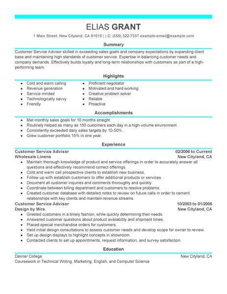 Best Sales Customer Service Advisor Resume Example Livecareer Resume Examples Service Advisor Advisor