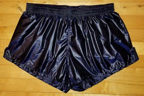 racer shorts M 2.0 short style wetlook satin shorts shiny dark blue neon pants runner shorts