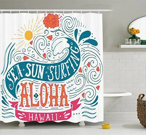 Ambesonne Hawaiian Shower Curtain By Sea Sun Surfing Typography With Ocean Waves Aloha Tropical Print Fabric Bathroom Decor Set Hooks 84 Inches Extra