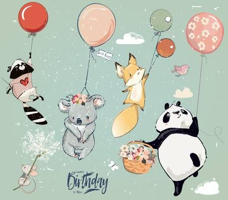Collection Of Cute Vector Birthday Fly Animals With Balloons Cute Drawings Birthday Illustration Nursery Illustration