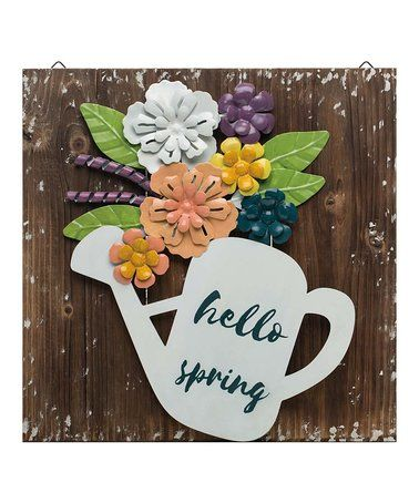 Loving This Wood Metal Flower Hello Spring Wall Art On Zulily Zulilyfinds Spring Wall Art Flower Crafts Hello Spring