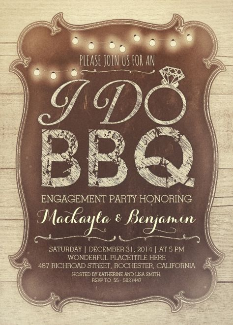 BBQ engagement party rustic vintage invitation - I DO invitations. Features carved wood background and string lights. Amazing country BBQ invitation! More at http://superdazzle.com