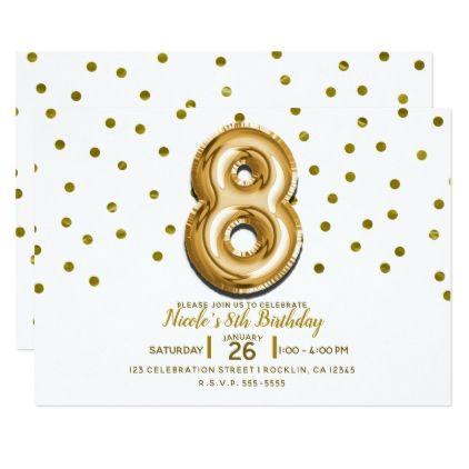 8 eight gold balloon confetti 8th